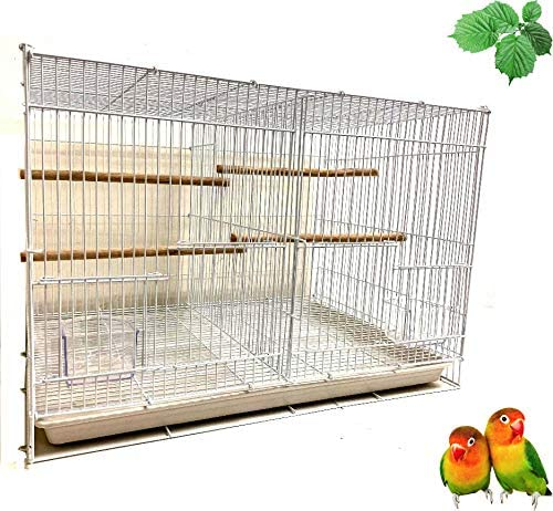 Mcage Lot of 6 Aviary Breeding Bird Finch Parakeet Finch Flight Cage with Divider 24 x 16 x 16 White