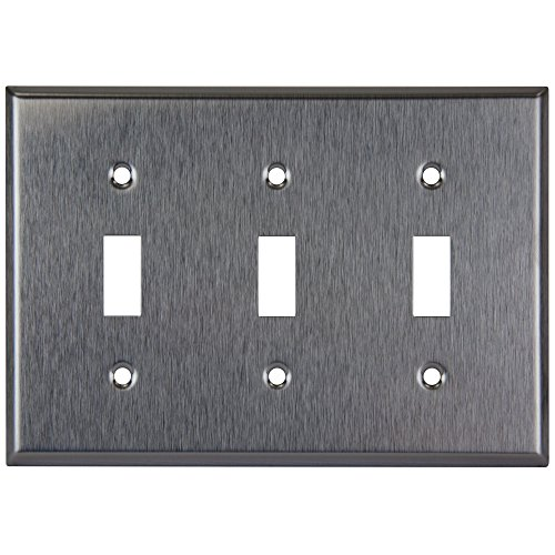 (Enerlites 7713 Toggle Switch Stainless Steel Wall Plate 3-Gang, Standard Size, 430 Grade Alloy Metal Plate Corrosive Resistant Cover for Rotary Dimmers and Lights Switches)
