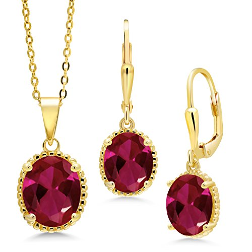 Gem Stone King 8.00 Ct Oval Red Created Ruby 18K Yellow Gold Plated Silver Pendant Earrings Set
