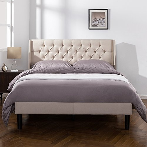 Zinus Upholstered Traditional Tufted Wingback Platform Bed with Wood Slat Support, Queen