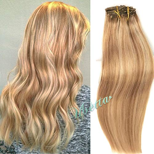 Clip in Hair Extensions Strawberry Blonde with Blonde Highlights 120G 7pcs Double Weft 100% Human Hair Silky Straight Remy Hair Clip in Extensions Full Head 14