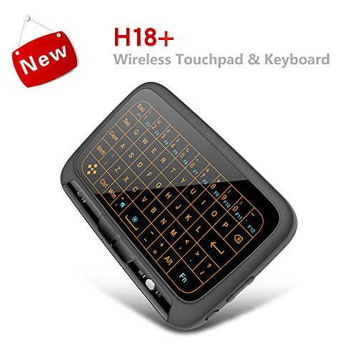 (Upgrated Backlit) Mini Wireless Keyboard, 2.4GHz Portable Rechargable Keyboard With Full Screen Touchpad Mouse for Android TV Box PC Laptop Mac OS Linux HTPC IPTV Google XBMC Windows 2000 XP Vista