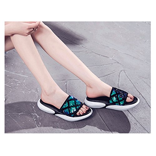 Sandals Outer 6 Flip Slippers 5 Flop Size Fashion Womenn Summer Female Wear Sequined wq5XxS5AP
