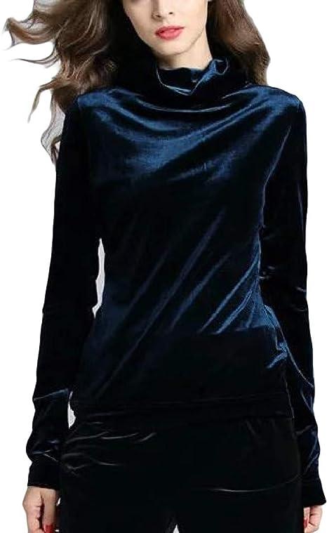 Andopa Terciopelo color sólido cuello alto caída del resorte camisa blusa de la tapa para Mujeres Azul real Pequeño: Amazon.es: Ropa y accesorios