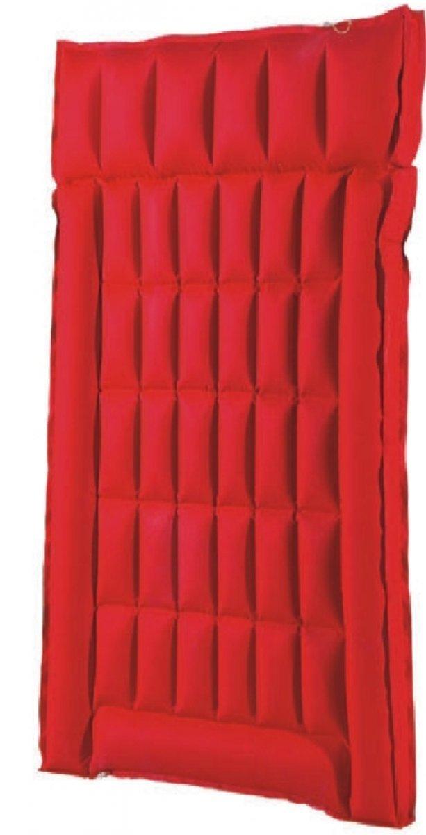 Dreams4Home Gewebe Doppelboxmatratze 'Uni' - Doppelmatratze, Gewebematraze, Liegematratze, Schwimmmatratze, aufblasbar, Outdoor, Freizeit, Schwimmbad, Meer, Strand, Größe: 200 x 130 x 8 cm, in rot / blau