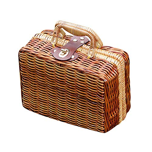 Puedo Womens Vintage Rattan Handbag Handmade Tote Weave Purse Straw Bag Beach Bag Summer Straw Handbag