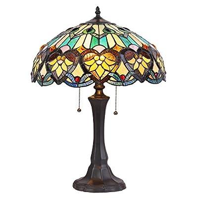 "Chloe Lighting CH835576GV16-TL2 Tiffany Tiffany-Style 2 Light Victorian Table Lamp 16"" Shade, Multi"