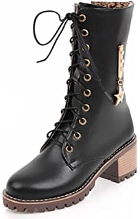 Women's Metallic Star Round Toe Inside Zip Lace Up Boots Mid Block Heels Motorcycle Ankle Boots