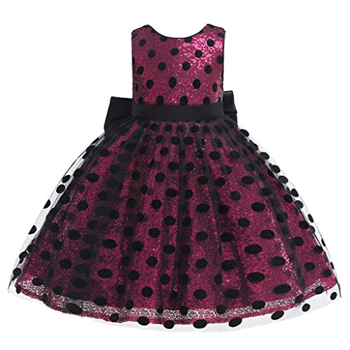 Sunyastor Girls Costume Cosplay Dress Dot Tulle Bow Princess Lace Dress Flower Pageant Party Dresses Holiday Dresses Hot Pink