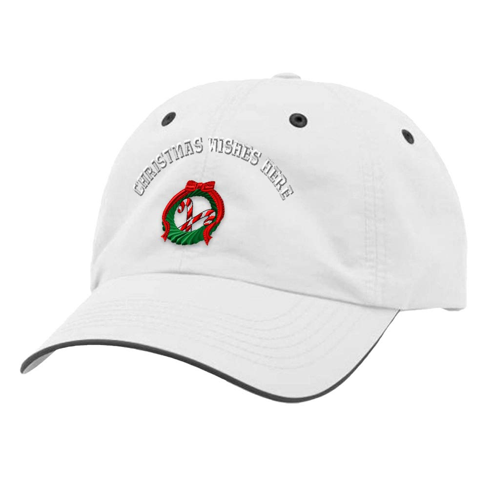 Custom Richardson Running Cap Wreath /& Candy Cane Embroidery Wishes Polyester