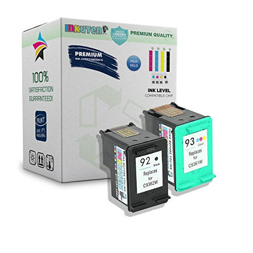 (INKUTEN Remanufactured Ink Cartridge Replacement For Hewlett Packard HP 92 93 C9362WN C9361WN C9513FN (1 Black, 1 Tri-Color) 2-Pack)