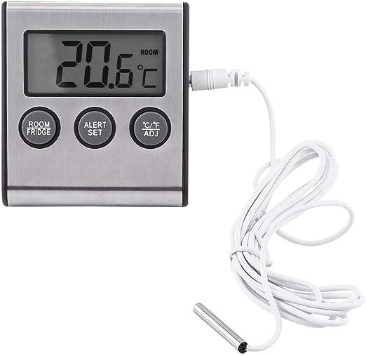 Termómetro digital para refrigerador Termómetro LCD Alarma ...