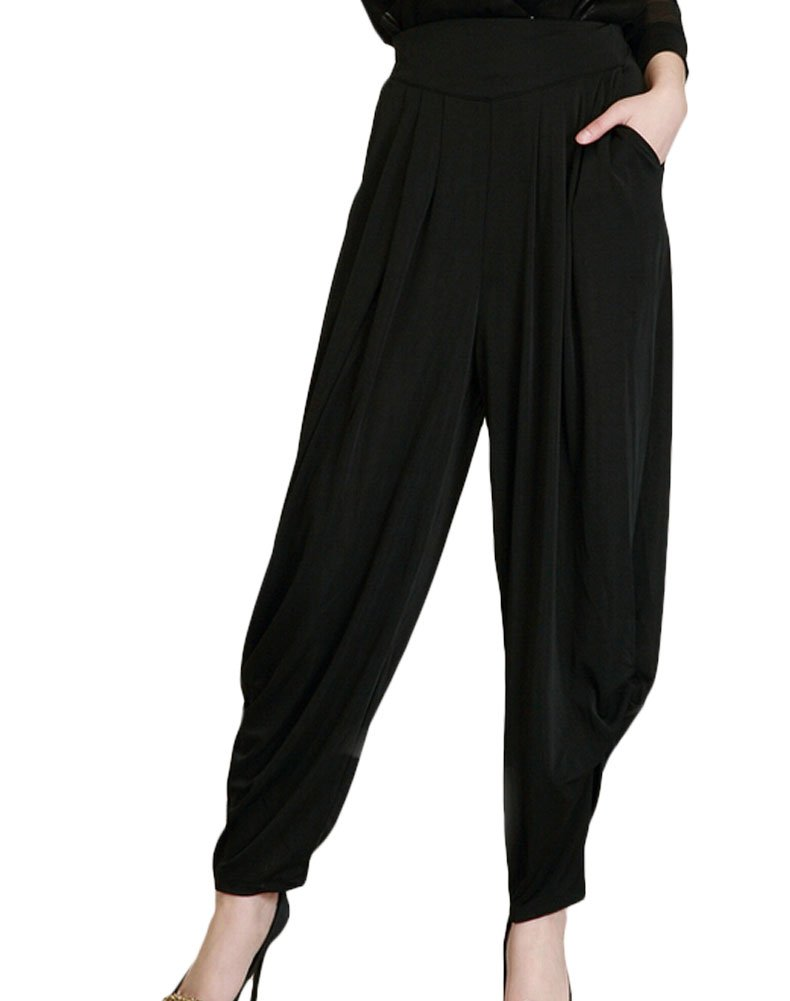 Minibee Womens Harem Pants High Waisted Coay Trousers Two Size Pockets Black M by Minibee