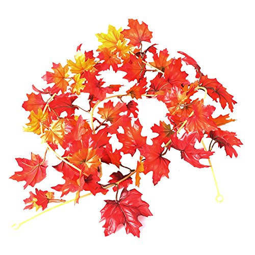click-me 5.9Feet Artificial Fall Maple Leaf Garland Autumn Fall Garland for Decor Home Party Wedding