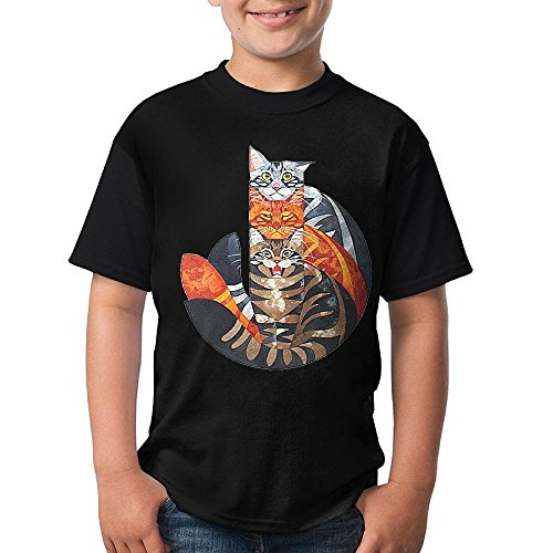 Iii Dri Cat (Teenage Shirt Three colorful Cat Black Short Sleeve T Shirts Youth Tees)