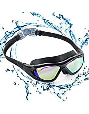 ZetHot Big Frame Swim Goggles, Polarized Swimming Goggles No Leaking Anti Fog UV Protection Triathlon Swim Goggles for Adult Men Women Youth Kids Child