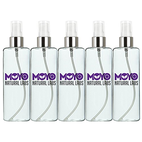 MoYo Natural Labs Large Durable Fine Mist Perfume Spray Bottle with Elegant Silver Cap 3.4 oz Travel Bottle Spray Mist Bottle Set Quantity 5 (100ml Natural Spray Perfume)