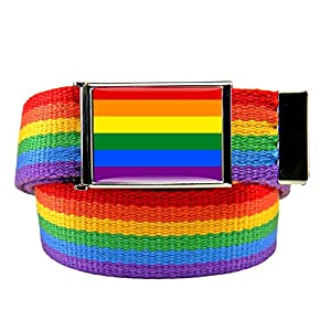 Rainbow Flag Flip Top Bottle Opener Belt Buckle with Rainbow Canvas Belt Medium