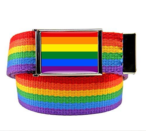 Rainbow Flag Flip Top Bottle Opener Belt Buckle with Rainbow Canvas Belt Medium - Multi Buckle Belt