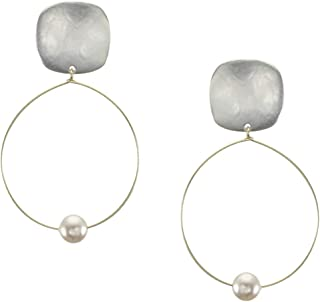 product image for Marjorie Baer Rounded Square with Delicate Hoop and Pearl Clip on Earring