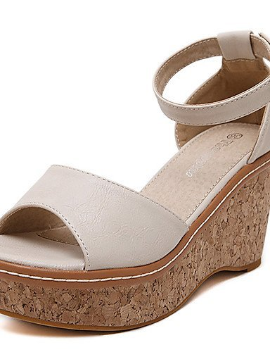 ShangYi Womens Shoes Leatherette Wedge Heel Open Toe Sandals Dress Pink / Almond Pink