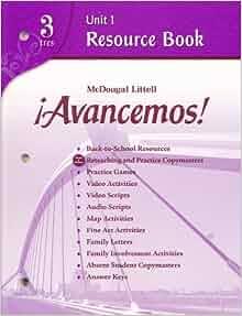 Avancemos 3 unit resource book