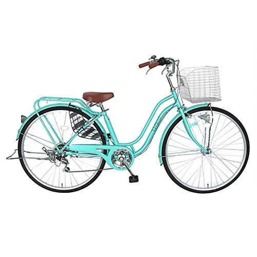 自転車 おしゃれなママチャリ デザインフレーム SUNTRUST(サントラスト) 軽快車 ライトグリーン 通勤 通学 買い物に最適【27インチ ママチャリ 外装6段ギア オートライト SSフレーム】女性にお勧めの安全性抜群の自転車 B07F27PCSV