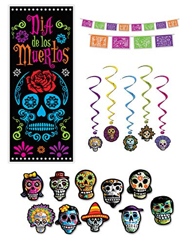 Day of the Dead Party Decorations Picado Style Pennant Banner Cutouts Hanging Whirls Door Poster]()