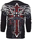 Affliction  Archaic Men Thermal T-Shirt RED Flag Cross Tattoo Biker UFC (X-Large)