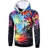 Ninasill Mens Autumn And Winter Long Sleeve Digital Print Hoodie Hooded Sweatshirt Tops Coat Outwear (M, Black)