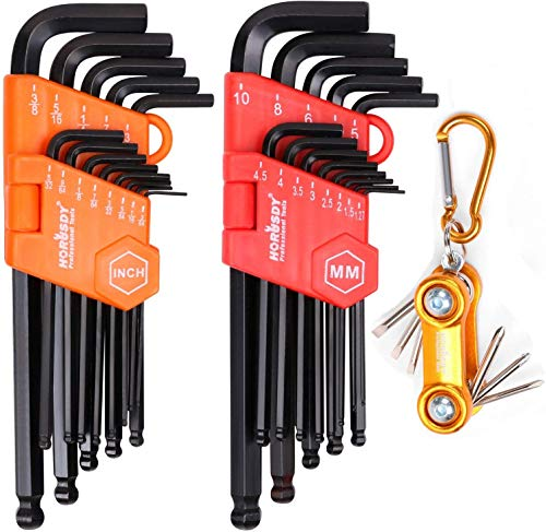 - HORUSDY Allen Wrench Set, 32-Pieces Hex Key Set Long Arm Ball End, Inch/Metric and Mini Screwdriver Set - Best Unique Tool Gift for Men