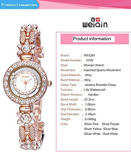 AStarsport Women Luxury Elegant Flower Rhinestone Flower Bangle Bracelet Watches Fashion Lady Dress Watch Analog Wristwatch Silver Pink by AStarsport (Image #4)