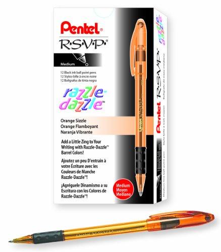 Pentel R.S.V.P. Razzle-Dazzle Ballpoint Pen, Medium Line, Orange Barrel, Black Ink, Box of 12 (BK91RDF-A) -