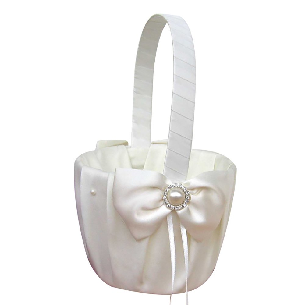 Panier avec nœuds et fleurs en satin pour mariage et ambiance romantique, couleur ivoire iShine