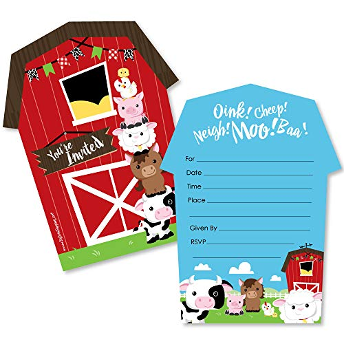 Farm Animals - Shaped Fill-in Invitations - Baby Shower or Birthday Party Invitation Cards with Envelopes - Set of 12 (Farm Party Invitation Birthday)