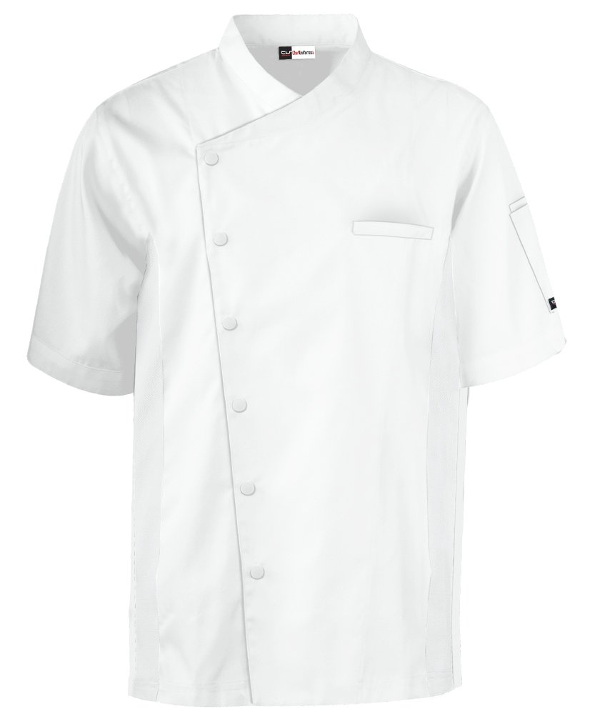 Men's Short Sleeve Chef Coat with Mesh Sides (XS-3X, 2 Colors) (XX-Large, White) by ChefUniforms.com (Image #5)