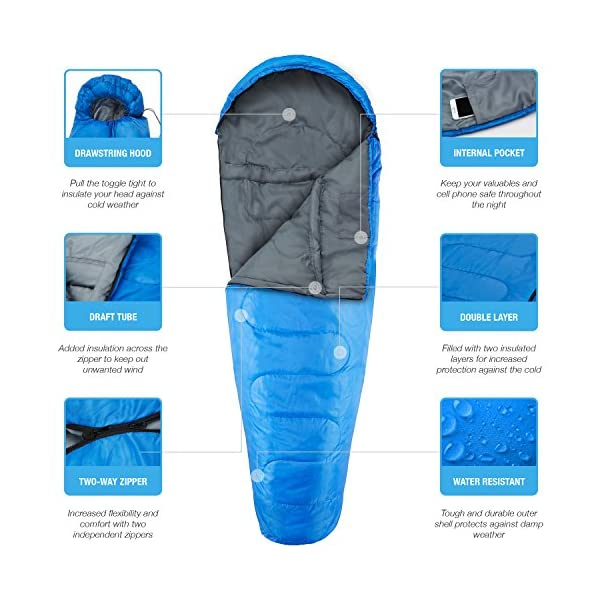 Active Era Mummy Sleeping Bag with Compression Sack for 3-4 Season - Lightweight, Water Resistant & Warm for Camping, Hiking, Fishing, Traveling and Outdoors 5