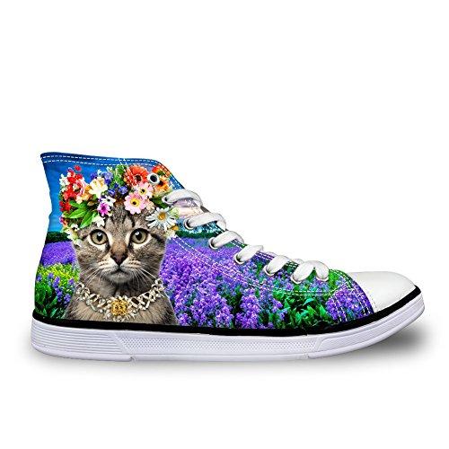 For U Design Kawaii Kattunge Katt Kvinner Canvas Sko Høy Topp Flat Sneaker  Cat 1