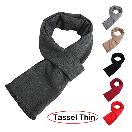 Mens Womens Long Thin Spring Winter Scarf Solid Color Soft Warm Cashmere Feel Fringed Scarves Unisex Fashion Scarf Dark Grey Tassels - Winter Wool Scarf