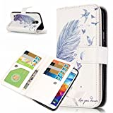 Galaxy S5 Case, Galaxy S5 Neo Case, Candy House Samsung Galaxy S5 / S5 Neo PU Leather Case Multifunctional 9 Card Slots Pattern Horizontal Wallet Case Magnetic Closure Flip Cover (Simple Blue Feather)