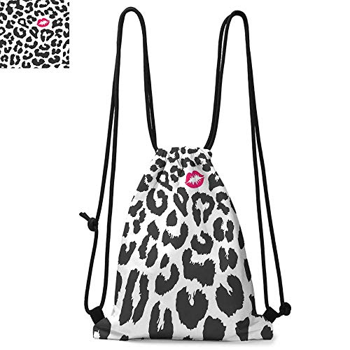 Safari Drawstring backpack series Leopard Cheetah Animal Print with Kiss Shape Lipstick Mark Dotted Trend Art Convenient choice for daily activities W17.3 x L13.4 Inch Charcoal Grey Pink