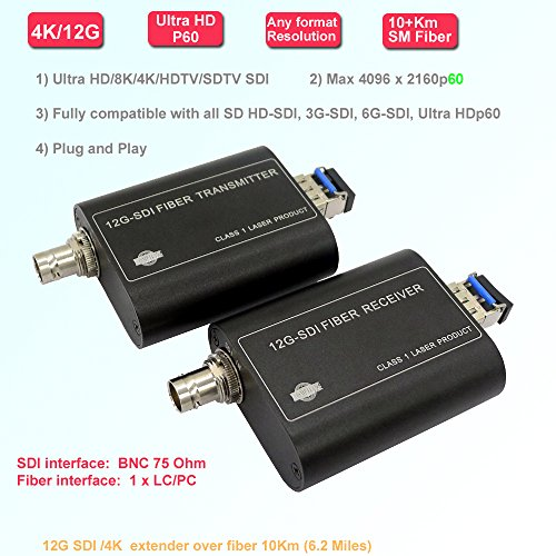 Transwan Mini 12G-SDI/6G/3G/HD/SD-SDI Over Fiber Extender, Ultra HD/4K Optical Fiber Transmitter Receiver over SMF 10Km (6.2 mile) or 500 Meters over MMF, Comply with SMPTE ST-2082, 2160P60 Format