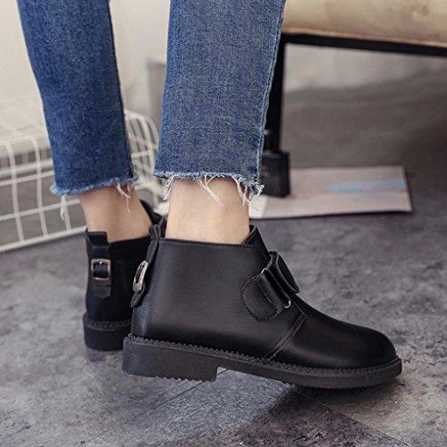 Hunpta Chelsea Boot Women Ankle Flat Heel Martin Boots Retro Fashion Boots Black dKDJrvJoq