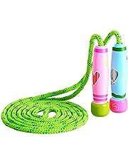 KONVINIT Springseil Kinder Springseil Verstellbare mit Holz Griff und Baumwolle Seil für Fitnesstraining abnehmen Fat Burning Übungen