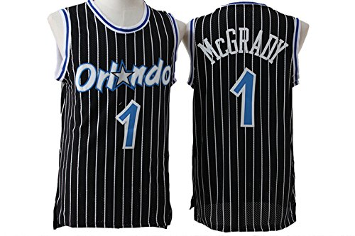Mens Orlando Magic Tracy McGrady #1 Stripe Jersey Black S