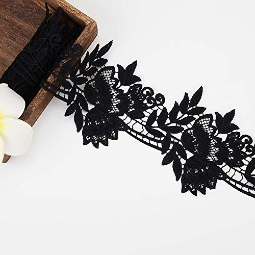 Lace Chantilly Band (MANVEN Floral Pattern Lace Edge Trim Boho Eyelash Venise Flower Embroidered Sequin Ribbon Polyester Chantilly Sewing Fabric for Bridal Wedding,Headbands,Hair Bows,Mothers Day Decorations,2 Yards,Black)
