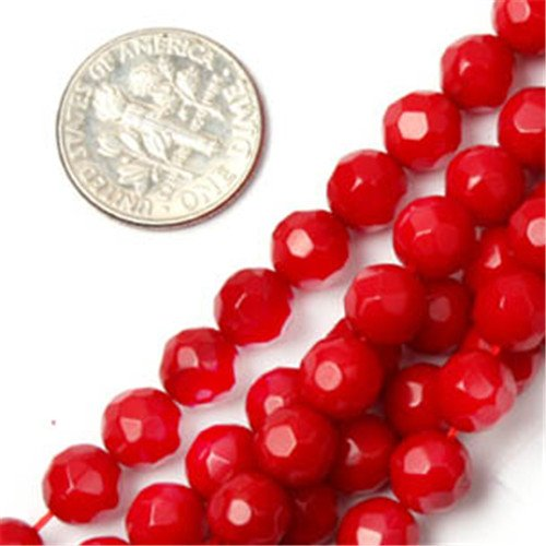 GEM-inside 6mm Round Faceted Red Coral Beads Strand 15 Inches (Strand Red Round)