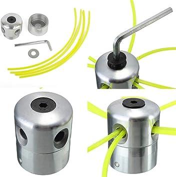 Cabezal de aluminio para desbrozadora de césped, doble cabezal de hilo, hilo de nailon para desbrozadora de gasolina: Amazon.es: Bricolaje y herramientas