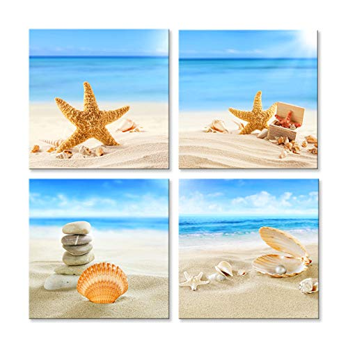 Youk-art Canvas Wall Art Beach Stone Sea Shells Sand Sunshine, Modern Wall Decor Home Decoration Stretched Gallery Canvas Wrap Print Ready to Hang 16x16inch