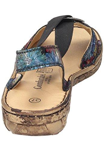 1 710890 Schwarz Damen Comfortabel Schwarz floreale sandalo wqISxgZ
